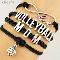 Volleyball Mom Bracelet - Black