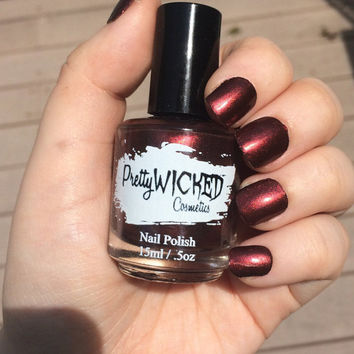 Dark Reddish Black Nail Polish, Carrie Polish, Dark Nail Polish, Red Nail Polish, Vampy Nail Polish, Dark Red Nail Polish, Metallic Polish