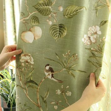 American rustic style Curtains for living room Birds Printed Drapes