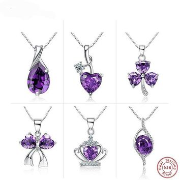 Authentic 925 Sterling Silver Natural Amethyst Crystal Crown Heart Link Chain Pendant Necklaces
