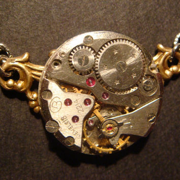 Steampunk Neo Victorian Vintage Watch Movement Necklace on Ornate Copper Setting (363)