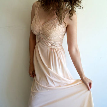 Vintage Light Nude  Maxi Sheer Lace Nightgown