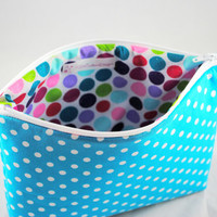Teal Polka Dot Make Up Case // Blue and White Cosmetic Bag // Polka Dot Zippered Case // Cosmetic Case // Make Up Storage