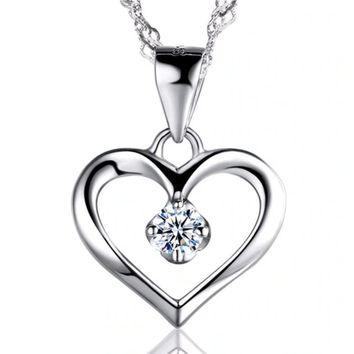 Heart Pendant with Crystal Stone Necklace