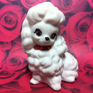 Vintage Poodle Ceramic Figurine - Cream White Dog