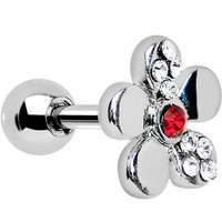 Red Crystalline Gem Bright Flower Cartilage Earring | Body Candy Body Jewelry