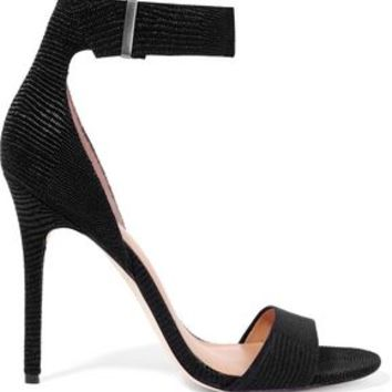 Marley lizard-effect suede sandals | HALSTON HERITAGE | Sale up to 70% off | THE OUTNET