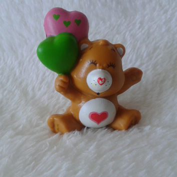 Vintage Care Bears Tender Heart bear with balloons pvc  toy miniature figure - 1983