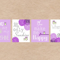 Owl Nursery Art DIY Printable- You Are My Sunshine Wall Art- Purple & Green