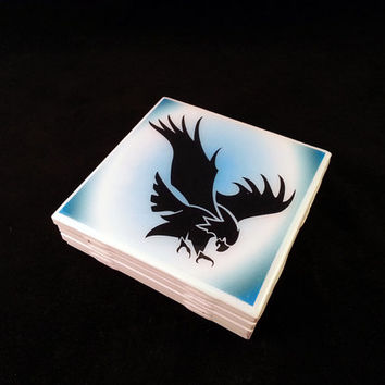 Eagle Silouhette White Ceramic Tile Coaster Set of 4