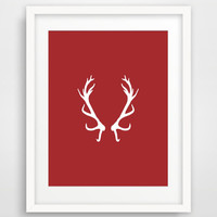 Deer Antler Christmas Printable, Red White Scandinavian Christmas Decor, Instant Download, Antler Wall Art Print, Home Decor, Holiday Decor