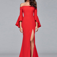 off Shoulder Flare Sleeve High Slit Maxi Wedding Prom Dress - NOVASHE.com