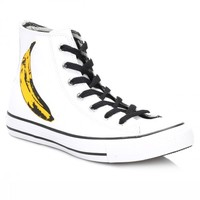 Converse All Star Andy Warhol Hi White and Black Leather Trainers