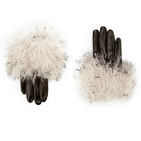 Saks Fifth Avenue Collection Mongolian Rabbit Fur-Trimmed Leather Glove
