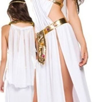 DCCKIX3 Sexy White Greek Goddess Costume Long Dress Halloween 3PCS = 1928076484