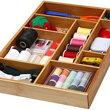 "YBM Home & Kitchen Bamboo Utility Drawer Dividers for Kitchen, Bathroom, Office and Cosmetics Size: 17.5""lx12.5""wx1.9""h #337"