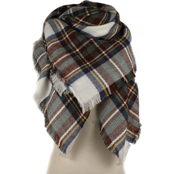 Plaid Blanket Scarf (Brown/Navy/Cream)