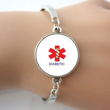 Handmade Alert Medical Diabetic Glass Tile Jewelry Bracelets Bangle Plated Antique Silver Rhodium New Design Bangles 1 pc