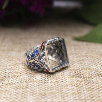 925 Silver Art Deco14mm Princess Cabochon Semi Mount Retro Cloisonne Enamel Ring Antique Vintage Fine Silver Jewelry Setting