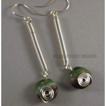 Green and Silver Earrings for the Fall, Long Dangles