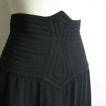 Structured Black High Waist Skirt Vintage 80s Wayne Clark Black Crepe Quilt Pleat Maxi Skirt 8US