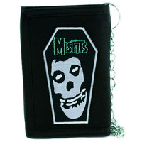 Misfits Skull Coffin Tri-Fold Wallet with Chain Punk Rock Clothing Deathrock