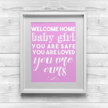 Printable Art   Welcome Home Baby Girl   8x10 Digital Download   Baby Room  Decor