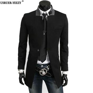 USRUER-YEEZY Casaco 2017 Long Men Leisure Suit Jacket Men's Blazer Slim Fit Jackets Black Gray Velvet Coats Male Windbreaker New