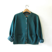 vintage Eddie Bauer cardigan sweater.  Green button up sweatshirt. Pocket cardigan sweater.