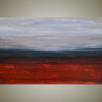 Large Original Abstract Landscape Painting Wall Art Canvas Textured - Red, Grey, Tan - Huge Wide Long 36 x 18 - Lava Lagoon