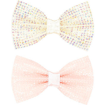 River Island Girls pink rhinestone hair bow pack
