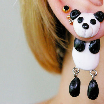 fake gauge plug two part Panda Earrings, Cute Stud Earrings, Polymer Clay Gifts, Animal Jewelry