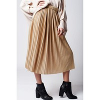 Gold pleated skirt with lurex