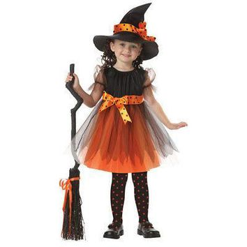 Halloween Toddler Girl Fancy magician Dress + Horns Hats Party Costume Short Sleeve Children Girl Clothes Set