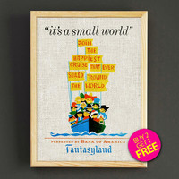 Vintage Disneyland Fantasyland It's A Small World Attraction Poster Reprint Home Wall Decor Gift Linen Print - Buy 2 Get 1 FREE - 372s2g
