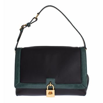 Dolce & Gabbana MISS BONITA Green Caiman Leather Hand Shoulder Bag