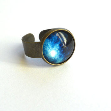 Navy Blue Ring - Ombre blue glass ring - Galaxy ring - Space jewelry - Free shipping - Gift for her under 20USD