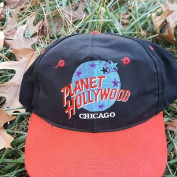Vtg 90s Planet Hollywood Chicago Snapback hat cap Retro Dope