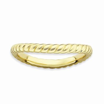 Sterling Silver Stackable Expressions Polished Gold-plate Wave Ring