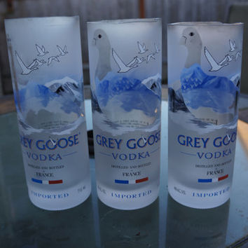 Grey Goose cup. Cut glass Grey Goose vodka bottle