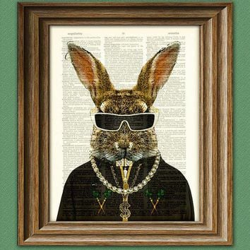 Hip Hop Rabbit 'mc Hippity Hop' Bunny With Iced Out Bling And Grillz Illustration Beautifully Upcycled Dictionary Page Book Art Print