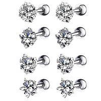 8PC Tragus Earring Stud Piercing Set 16G Mix Shape Clear CZ Surgical Steel Helix Ear Barbell