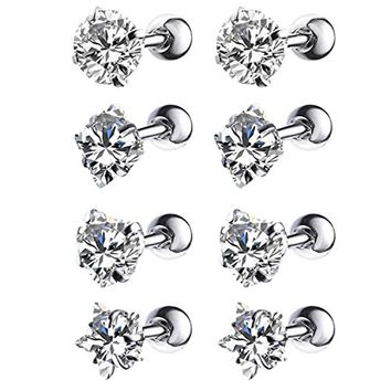 BodyJ4You 8PCS Tragus Earring Stud Piercing Set 16G Mix Shape Clear CZ Surgical Steel Helix Ear Barbell