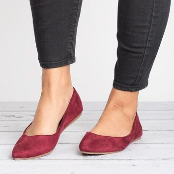 Pointed Ballet Flats - Wine