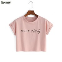 Women's Crop Tops Letter Print T-Shirts Summer Cute Fashion Pink Round Neck Short Sleeve Letter Print Crop T-shirt