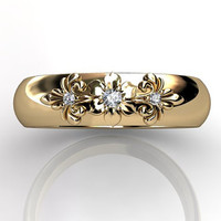 14k yellow gold diamond unusual unique floral wedding band LB-2012-2.