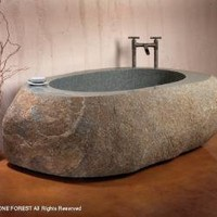 Stone Forest Granite Tub Custom Made One of a Kind C40-NAT - C40-NAT