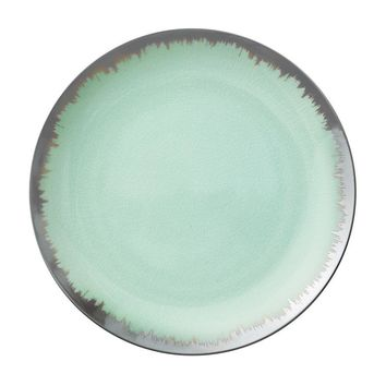 AURA DINNERWARE IN SEA GLASS WITH PLATINUM BRUSHSTROKE
