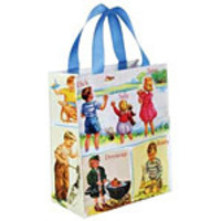 "Blue Q Handy Totes Dick & Jane 8 1/2"" x 10"" 95% Post Consumer Recycled Material"