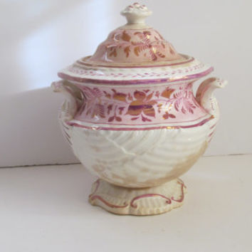 Antique English Transferware Pink Copper Luster English Sugar Bowl Large Sugar Bowl Distressed